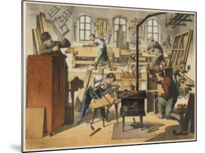 The Workshop of a Carpenter and Joiner, with Various Activities Taking Place--Mounted Giclee Print