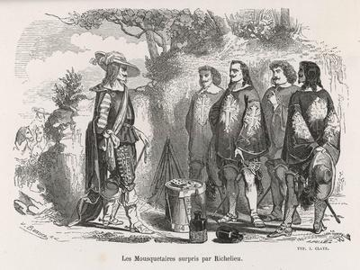 The Three Musketeers and D'Artagnan are Surprised by Richelieu--Stretched Canvas Print