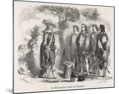 The Three Musketeers and D'Artagnan are Surprised by Richelieu--Mounted Giclee Print