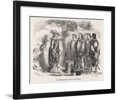 The Three Musketeers and D'Artagnan are Surprised by Richelieu--Framed Giclee Print