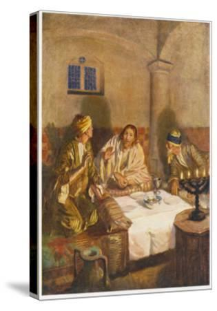 The Risen Jesus with Two of His Disciples at Emmaus--Stretched Canvas Print
