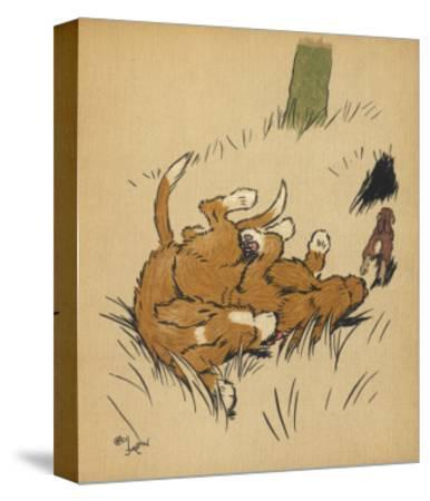 Twin Puppies Fall Over--Stretched Canvas Print
