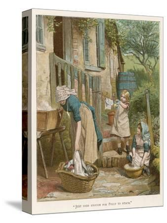 Two Little Girls Help their Mother with the Laundry on Washday--Stretched Canvas Print