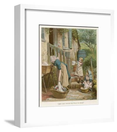 Two Little Girls Help their Mother with the Laundry on Washday--Framed Giclee Print