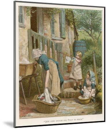 Two Little Girls Help their Mother with the Laundry on Washday--Mounted Giclee Print