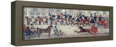West Country Mail Carriages in Piccadilly--Framed Stretched Canvas Print