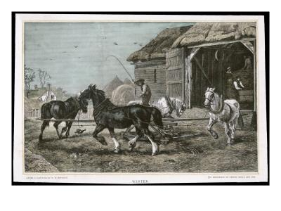 Winter, Threshing the Hay--Framed Giclee Print