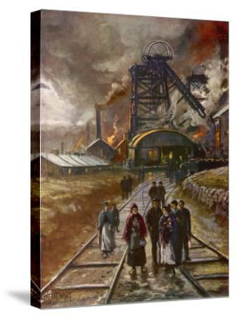 Welsh Men and Women Mineworkers Coming to Work in the Early Morning--Stretched Canvas Print