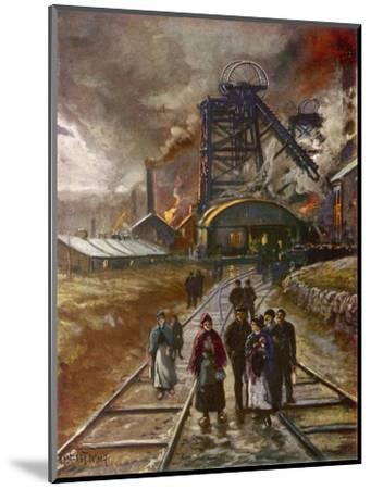 Welsh Men and Women Mineworkers Coming to Work in the Early Morning--Mounted Giclee Print