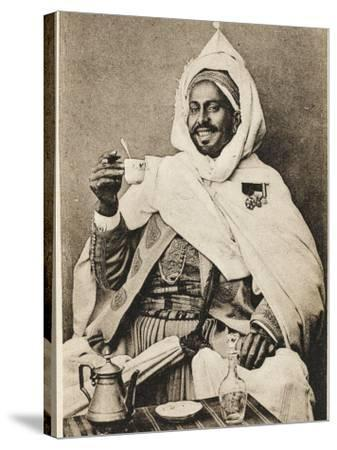 A Decorated Moroccan Tribal Chief Enjoying a Cup of Coffee--Stretched Canvas Print