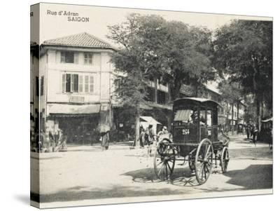 Adran Street - Saigon with Horse Cab--Stretched Canvas Print