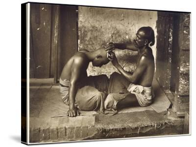 A Barber at Work in Ceylon (Sri Lanka)--Stretched Canvas Print