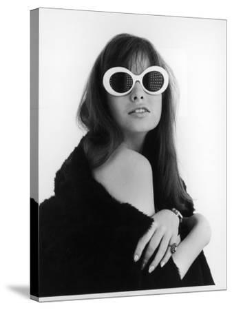 A Brunette Model Wears an Off the Shoulder Fur Coat and Fab Sunglasses!--Stretched Canvas Print