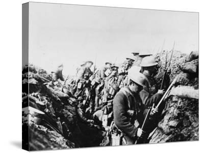 Canadian Troops Fix Bayonets in Preparation for a Raid on Enemy Lines, in the Somme Area-Robert Hunt-Stretched Canvas Print