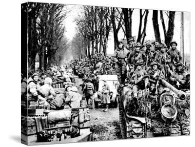 British Infantry and Tanks, Reichswald; World War Two, 1945--Stretched Canvas Print