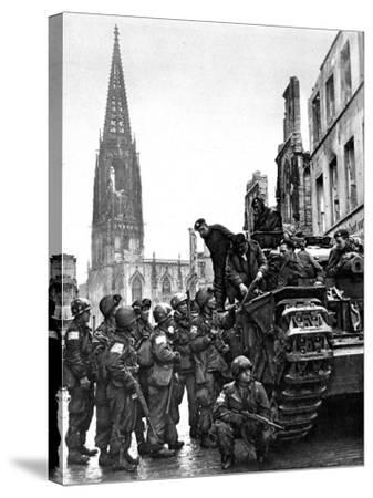 British and American Troops in Munster, Second World War--Stretched Canvas Print