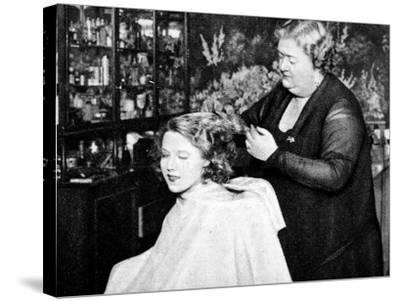 Hollywood Hair Dressing Salon, Miss Annie Ondra Having Her Hair Done--Stretched Canvas Print