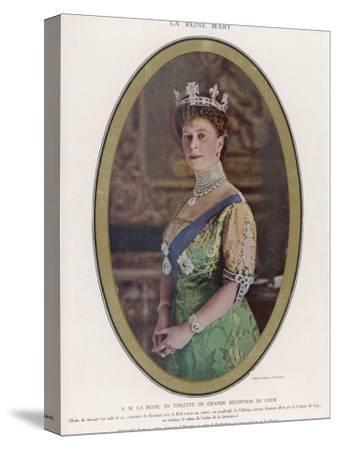 Mary, Queen of George V, Wearing a Crown with the Koh-I-Noor Diamond Set in the Centre--Stretched Canvas Print