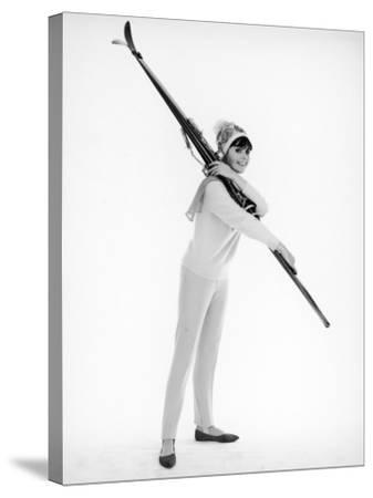 Model with Skis--Stretched Canvas Print