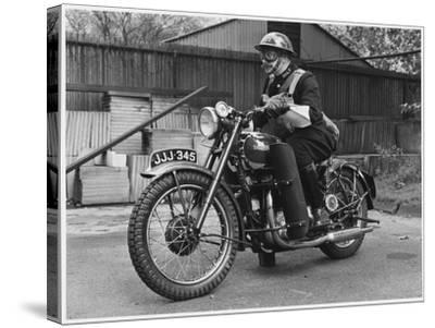 Metropolitan Police Officer on a Triumph Motorcycle During World War II--Stretched Canvas Print