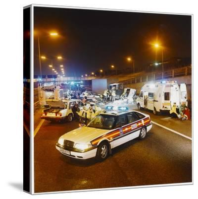 Metropolitan Police Car at the Scene of a Road Traffic Accident--Stretched Canvas Print