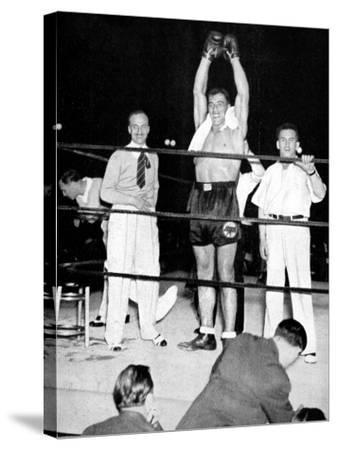 Primo Carnera Celebrates Victory, New York, 1933--Stretched Canvas Print