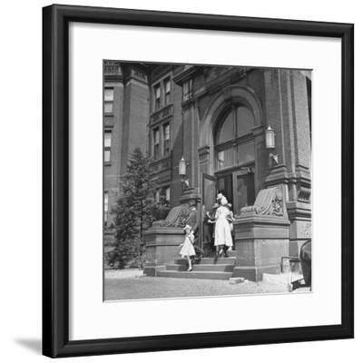 Juan Andreu Almazan Leaving John Hopkins Hospital with a Small Friend-Thomas D^ Mcavoy-Framed Premium Photographic Print