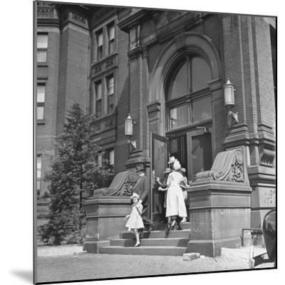 Juan Andreu Almazan Leaving John Hopkins Hospital with a Small Friend-Thomas D^ Mcavoy-Mounted Premium Photographic Print