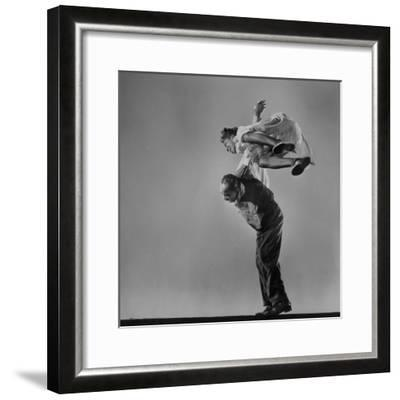 Leon James and Willa Mae Ricker Demonstrating a Step of the Lindy Hop-Gjon Mili-Framed Premium Photographic Print