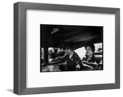 Elvis Presley Chatting with Fans Through Window, Sitting Beside Girlfriend Priscilla Beaulieu-James Whitmore-Framed Premium Photographic Print