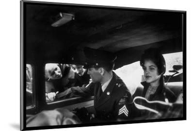 Elvis Presley Chatting with Fans Through Window, Sitting Beside Girlfriend Priscilla Beaulieu-James Whitmore-Mounted Premium Photographic Print