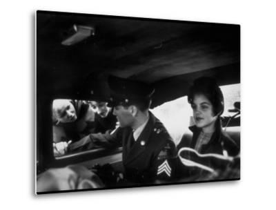 Elvis Presley Chatting with Fans Through Window, Sitting Beside Girlfriend Priscilla Beaulieu-James Whitmore-Metal Print