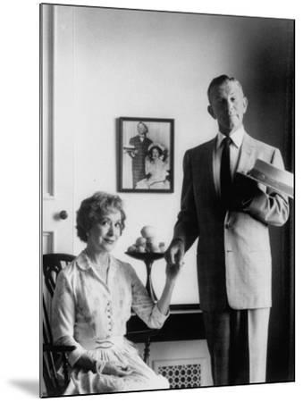 Comedian George Burns with Wife, Comedian Gracie Allen, in a Still for their TV Series-Allan Grant-Mounted Premium Photographic Print