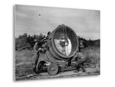 The 62nd Coast Artillery Concealing the Searchlight for Obvious Reasons-Carl Mydans-Metal Print