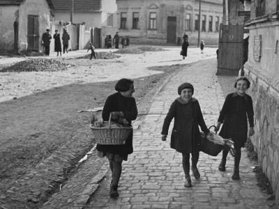 A View of Jewish Children Walking Through the Streets of their Ghetto-William Vandivert-Premium Photographic Print