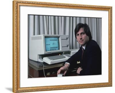 Apple Computer Chrmn. Steve Jobs with New Lisa Computer During Press Preview-Ted Thai-Framed Premium Photographic Print