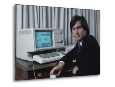 Apple Computer Chrmn. Steve Jobs with New Lisa Computer During Press Preview-Ted Thai-Metal Print