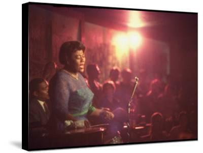 "Jazz Singer Ella Fitzgerald Performing at ""Mr. Kelly's"" Nightclub-Yale Joel-Stretched Canvas Print"