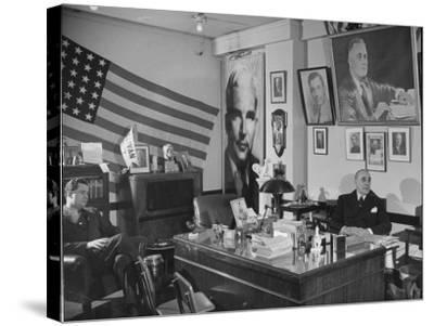 Fred Bays Sitting at His Desk at the Democratic State Headquarters-Hansel Mieth-Stretched Canvas Print