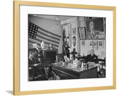 Fred Bays Sitting at His Desk at the Democratic State Headquarters-Hansel Mieth-Framed Premium Photographic Print