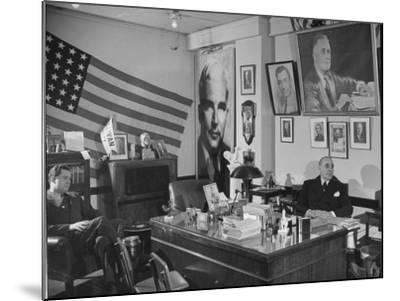 Fred Bays Sitting at His Desk at the Democratic State Headquarters-Hansel Mieth-Mounted Premium Photographic Print