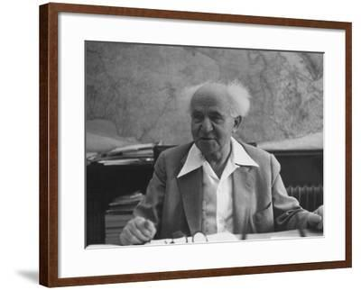 Israeli Prime Minister David Ben-Gurion-Gjon Mili-Framed Premium Photographic Print