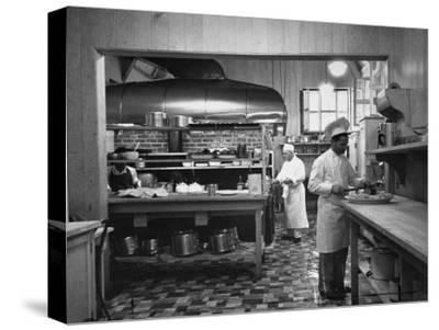 Chefs Working in the Kitchen at Gables-Peter Stackpole-Stretched Canvas Print