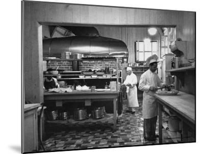 Chefs Working in the Kitchen at Gables-Peter Stackpole-Mounted Premium Photographic Print