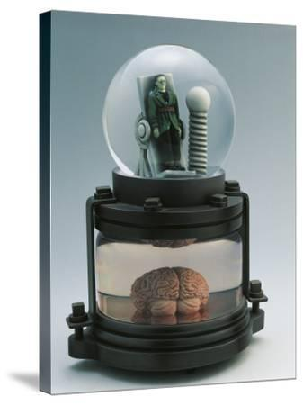 Close-Up of a Figurine of Frankenstein in a Snow Globe--Stretched Canvas Print