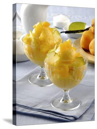 Close-Up of Apricot Ice-Cream in Glasses-P^ Bassanini-Stretched Canvas Print
