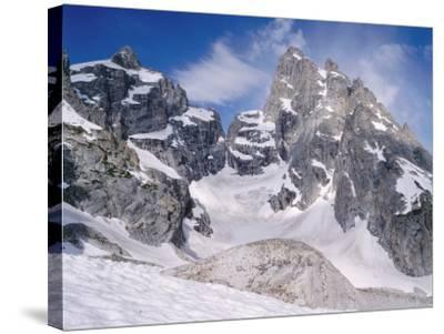 Detail of Snow-Covered Grand Teton, Mount Owen and Teton Glacier-Jeff Foott-Stretched Canvas Print