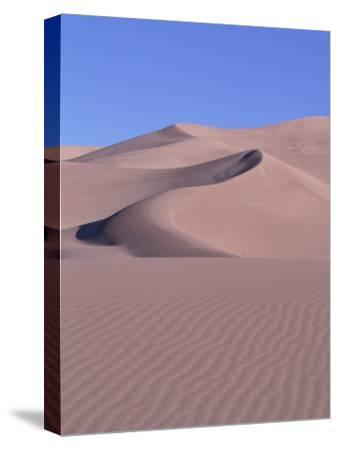 Blue Sky and Sand Dunes with Ripples and Crescent Crests-Jeff Foott-Stretched Canvas Print