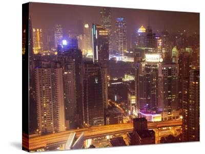 China, Shanghai, Night View of Illuminated Skyline and High Path-Keren Su-Stretched Canvas Print