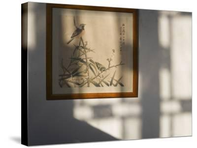 China, Shanghai, Zhujiajiao, Traditional Chinese Brush Painting Featuring Birds-Keren Su-Stretched Canvas Print